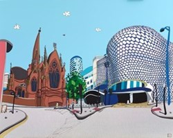 Birmingham Bullring by Dylan Izaak - Original Painting on Aluminium sized 49x40 inches. Available from Whitewall Galleries